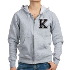 Letter K in black vintage look Zip Hoodie