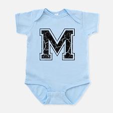 Letter M in black vintage look Infant Bodysuit