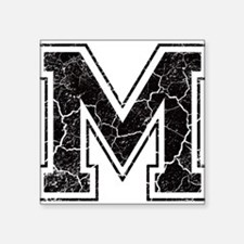 "Letter M in black vintage look Square Sticker 3"" x"