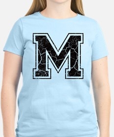 Letter M in black vintage look T-Shirt