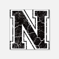 "Letter N in black vintage look Square Sticker 3"" x"