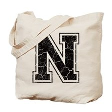 Letter N in black vintage look Tote Bag