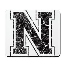 Letter N in black vintage look Mousepad