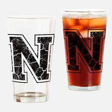 Letter N in black vintage look Drinking Glass