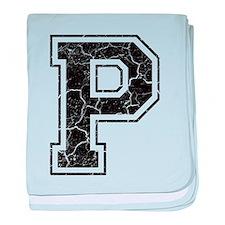 Letter P in black vintage look baby blanket