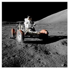 Eugene an on Lunar Rover, Apollo 17 Poster