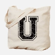 Letter U in black vintage look Tote Bag