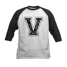 Letter V in black vintage look Tee