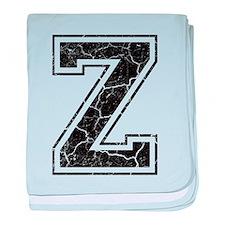Letter Z in black vintage look baby blanket