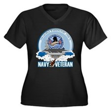 Navy Veteran CVN-73 Women's Plus Size V-Neck Dark