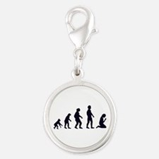 HUMAN EVOLUTION, figures, gifts Silver Round Charm