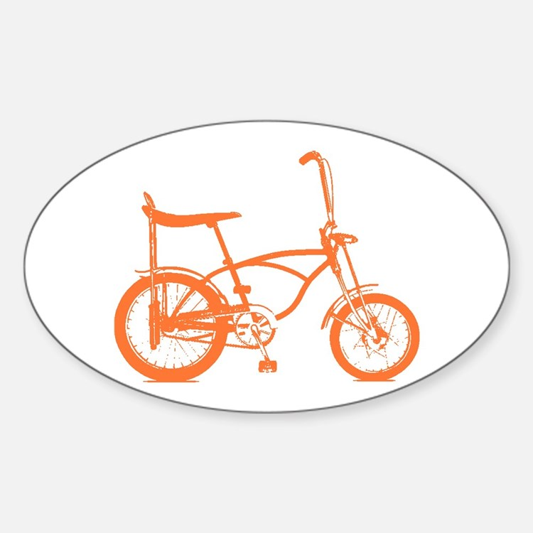 Retro Orange Banana Seat Bike Sticker (Oval)