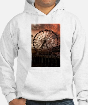 The Seattle Pier in Red Hoodie