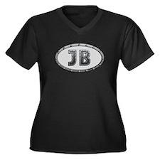 JB Metal Women's Plus Size V-Neck Dark T-Shirt