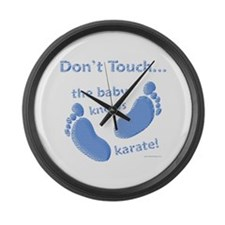 Karate Baby Blue Large Wall Clock