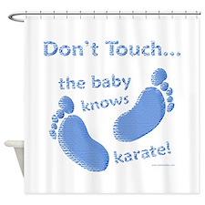 Karate Baby Blue Shower Curtain