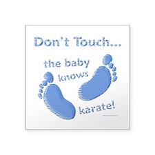 "Karate Baby Blue Square Sticker 3"" x 3"""