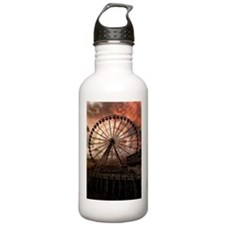 The Seattle Pier in Red Water Bottle