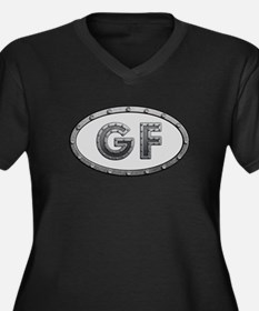 GF Metal Women's Plus Size V-Neck Dark T-Shirt