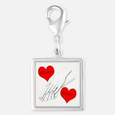 Custom Romance Silver Square Charm