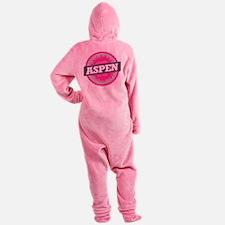 Aspen Ski Resort Colorado Pink Footed Pajamas