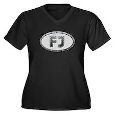FJ Metal Women's Plus Size V-Neck Dark T-Shirt