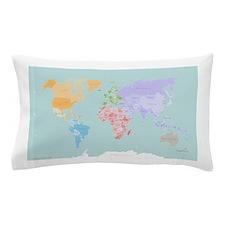 World Map - Modern Design - Pillow Case