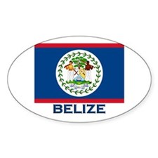 Belize Flag Merchandise Oval Decal