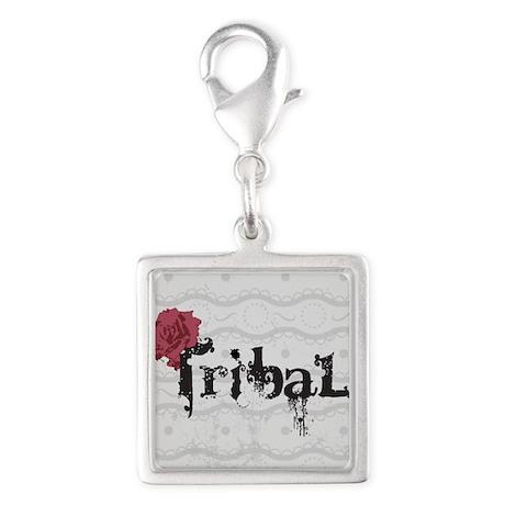Tribal Silver Square Charm