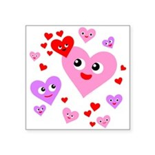 """Super Happy Hearts Square Sticker 3"""" x 3"""""""