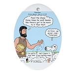 Peter Feeding Sheep Ornament (Oval)