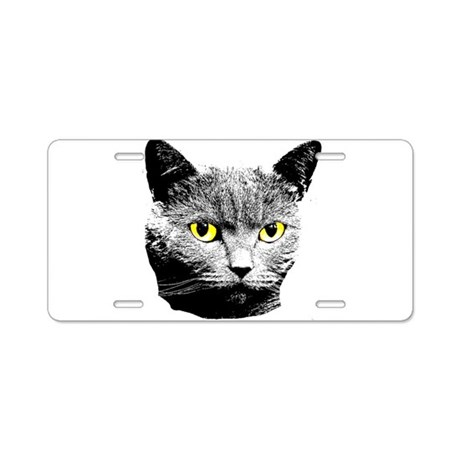 Cat with Yellow Eyes Aluminum License Plate