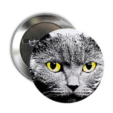 "Cat with Yellow Eyes 2.25"" Button"