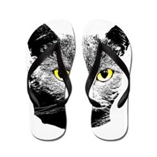 Cat with Yellow Eyes Flip Flops