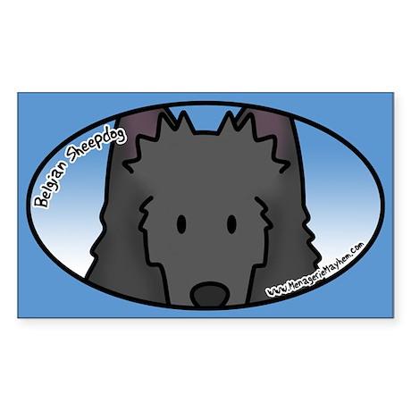 Anime Belgian Sheepdog Oval Sticker