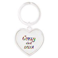 Crazy About Salsa Heart Keychain
