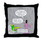 Parakeet vs Paraclete Throw Pillow