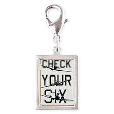 Check Your Six Silver Portrait Charm