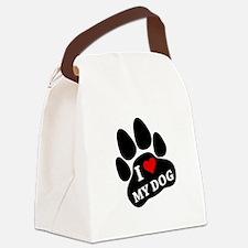 I Heart My Dog Canvas Lunch Bag