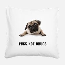 Pugs Not Drugs Black Square Canvas Pillow