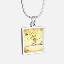with god gold vintage Silver Square Necklace