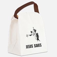 Jesus Saves Soccer Canvas Lunch Bag