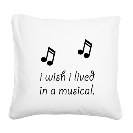Live In Musical Square Canvas Pillow