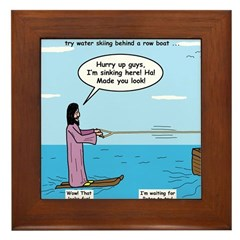 Jesus Waterskiing Framed Tile