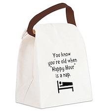 Happy Hour Nap Black Canvas Lunch Bag