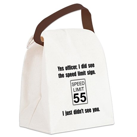 Speed Limit Black.png Canvas Lunch Bag