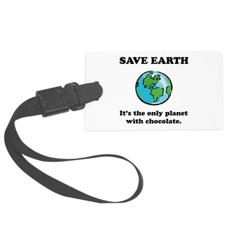 Save Earth Chocolate Black.png Large Luggage Tag