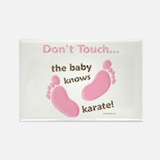 Karate Baby Green Rectangle Magnet