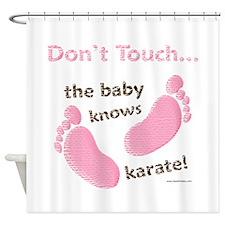 Karate Baby Green Shower Curtain