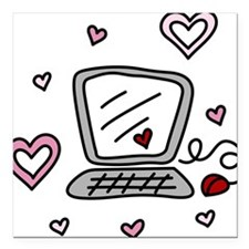 "Computer Love Square Car Magnet 3"" x 3"""